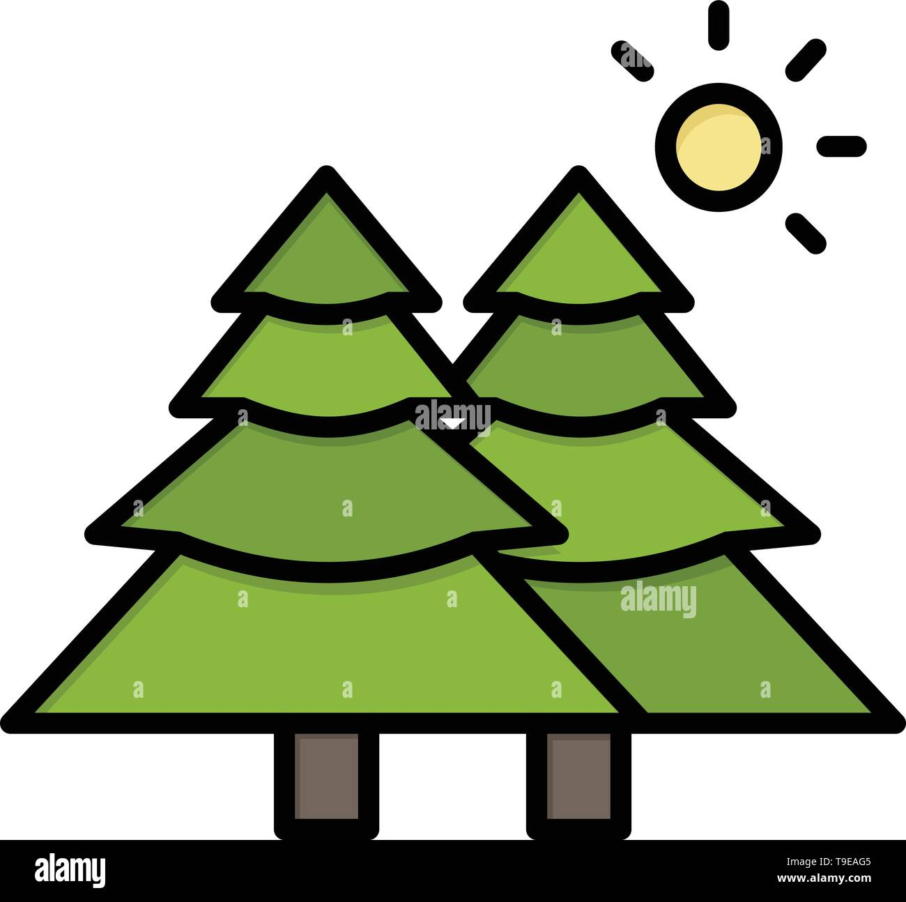 Fir, Forest, Nature, Trees  Flat Color Icon. Vector icon banner Template - Stock Image
