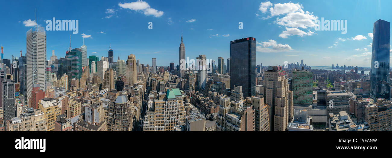 New York City - May 8, 2019: Panoramic view of Midtown Manhattan and