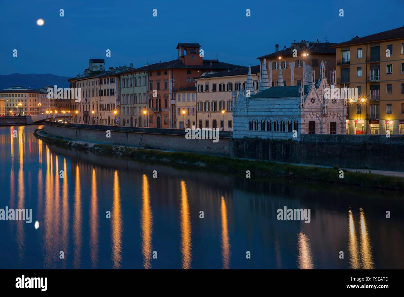 pisa, lungarno, santa maria della spina,  tuscany,  italy - Stock Image