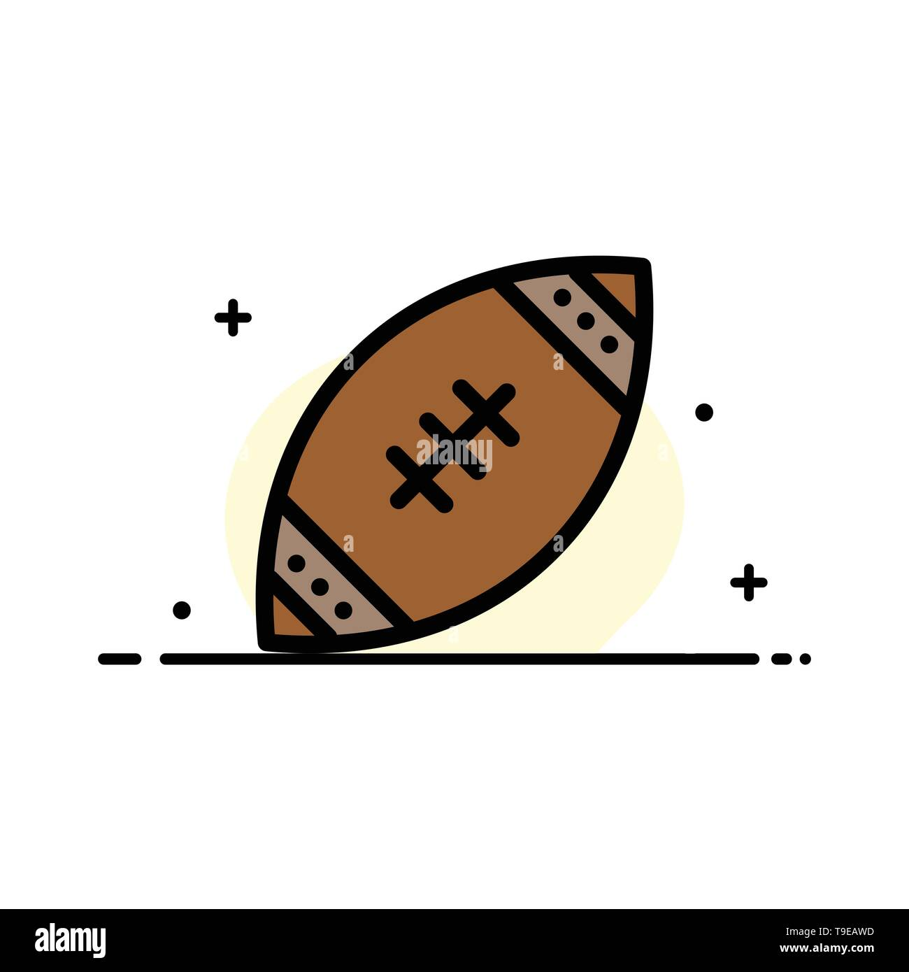 American, Ball, Football, Nfl, Rugby  Business Flat Line Filled Icon Vector Banner Template - Stock Image