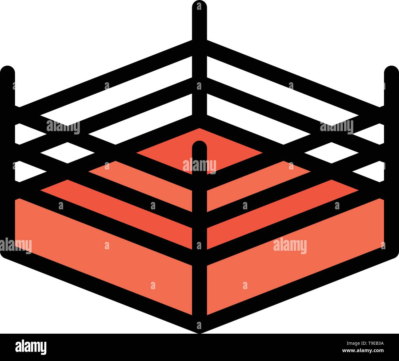 Boxing, Ring, Wrestling  Flat Color Icon. Vector icon banner Template - Stock Image