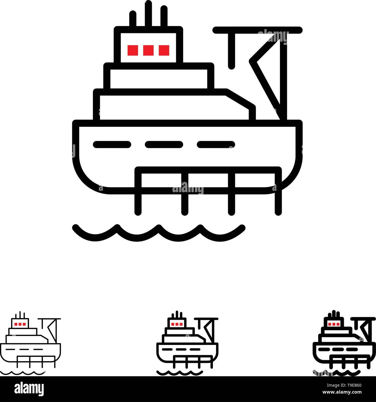 Ship, Boat, Cargo, Construction Bold and thin black line icon set - Stock Image