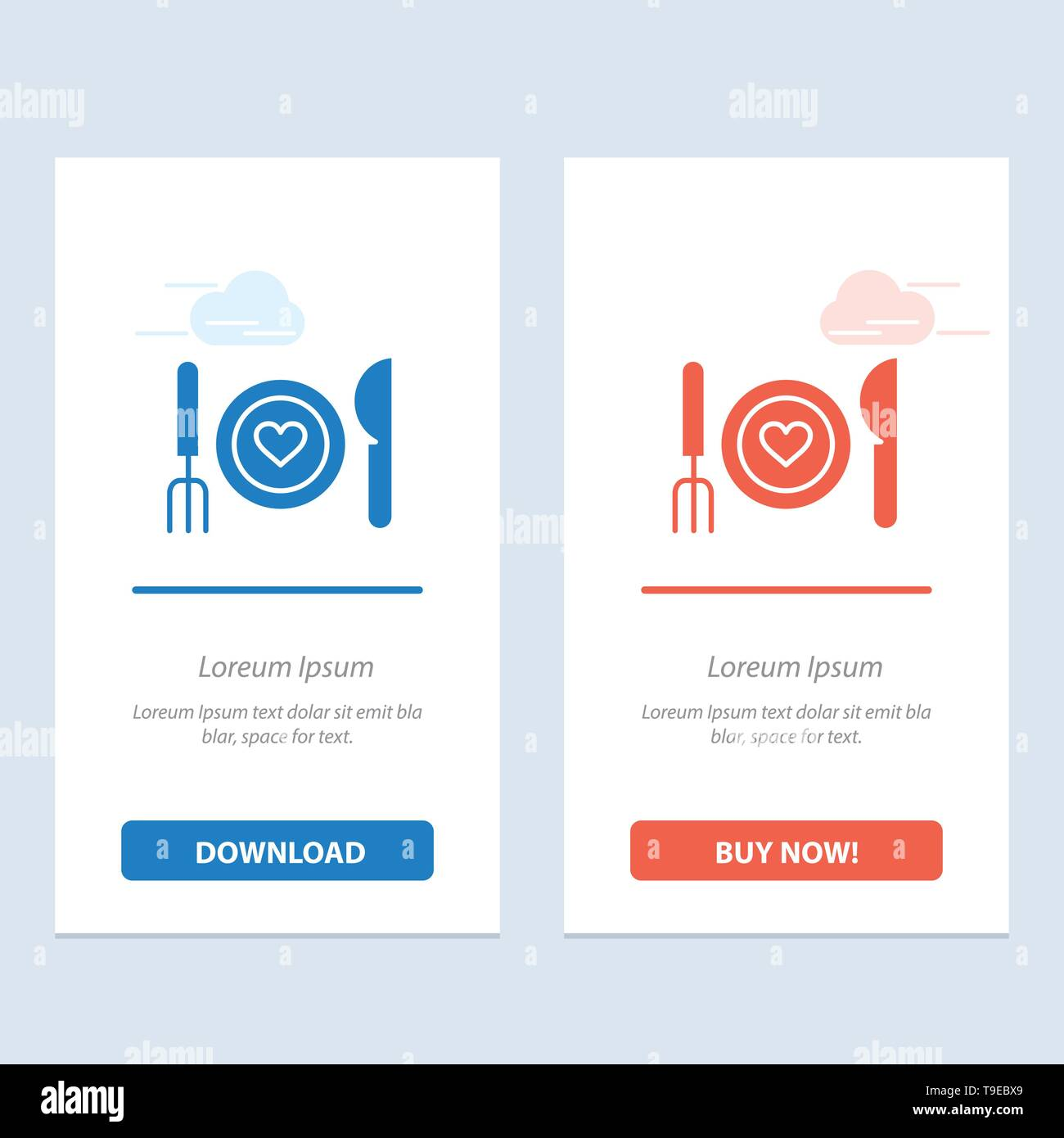 Dinner, Romantic, Food, Date, Couple  Blue and Red Download and Buy Now web Widget Card Template - Stock Image