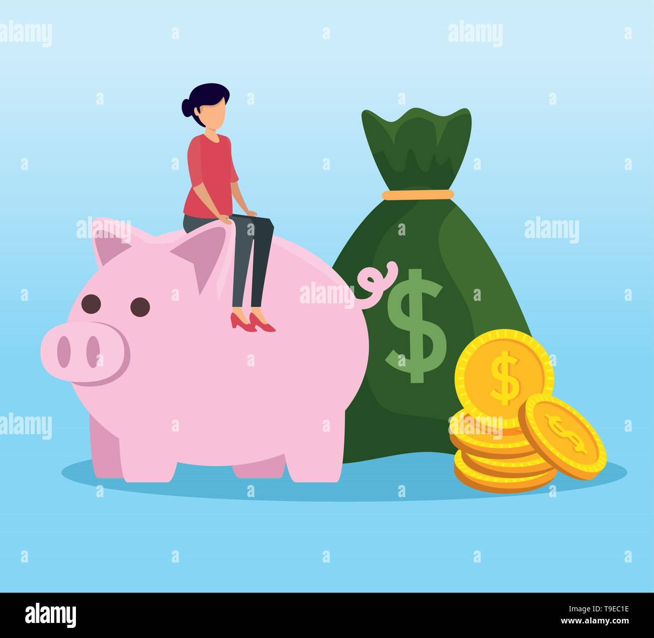 woman sitting piggy with money bag and coins - Stock Image
