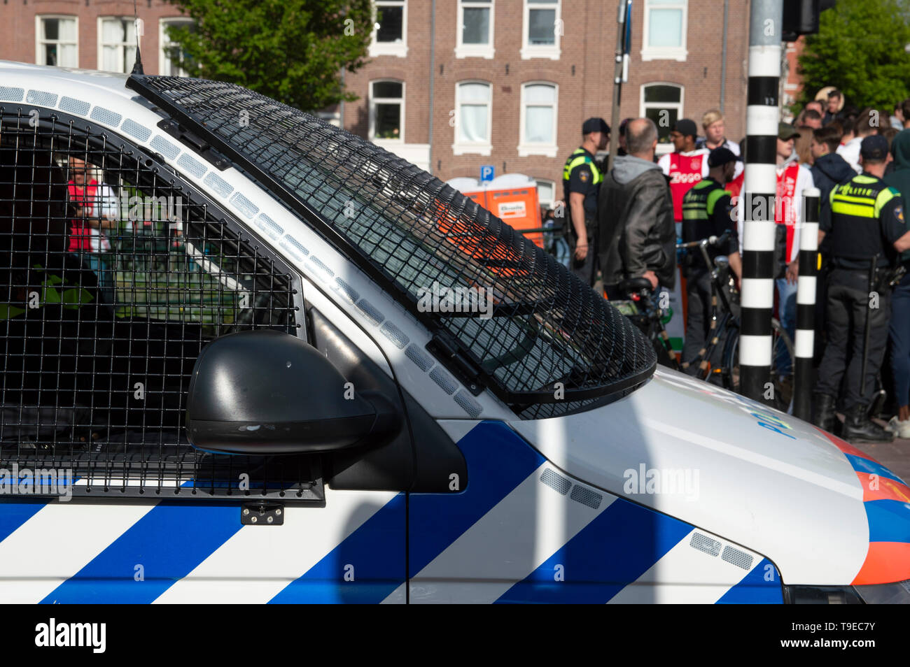 Police Working Around The Museumplein Ajax Dutch Champion Party Amsterdam The Netherlands 2019 - Stock Image