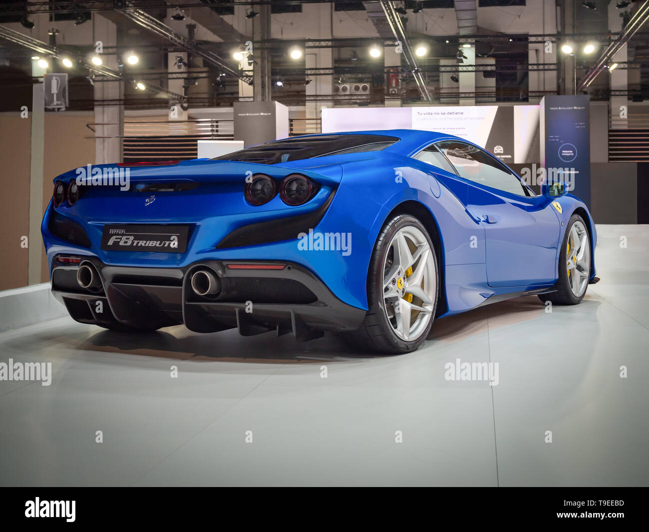 BARCELONA, SPAIN-MAY 11, 2019: Ferrari F8 Tributo at the 100 years of the Automobile Exhibition - Stock Image
