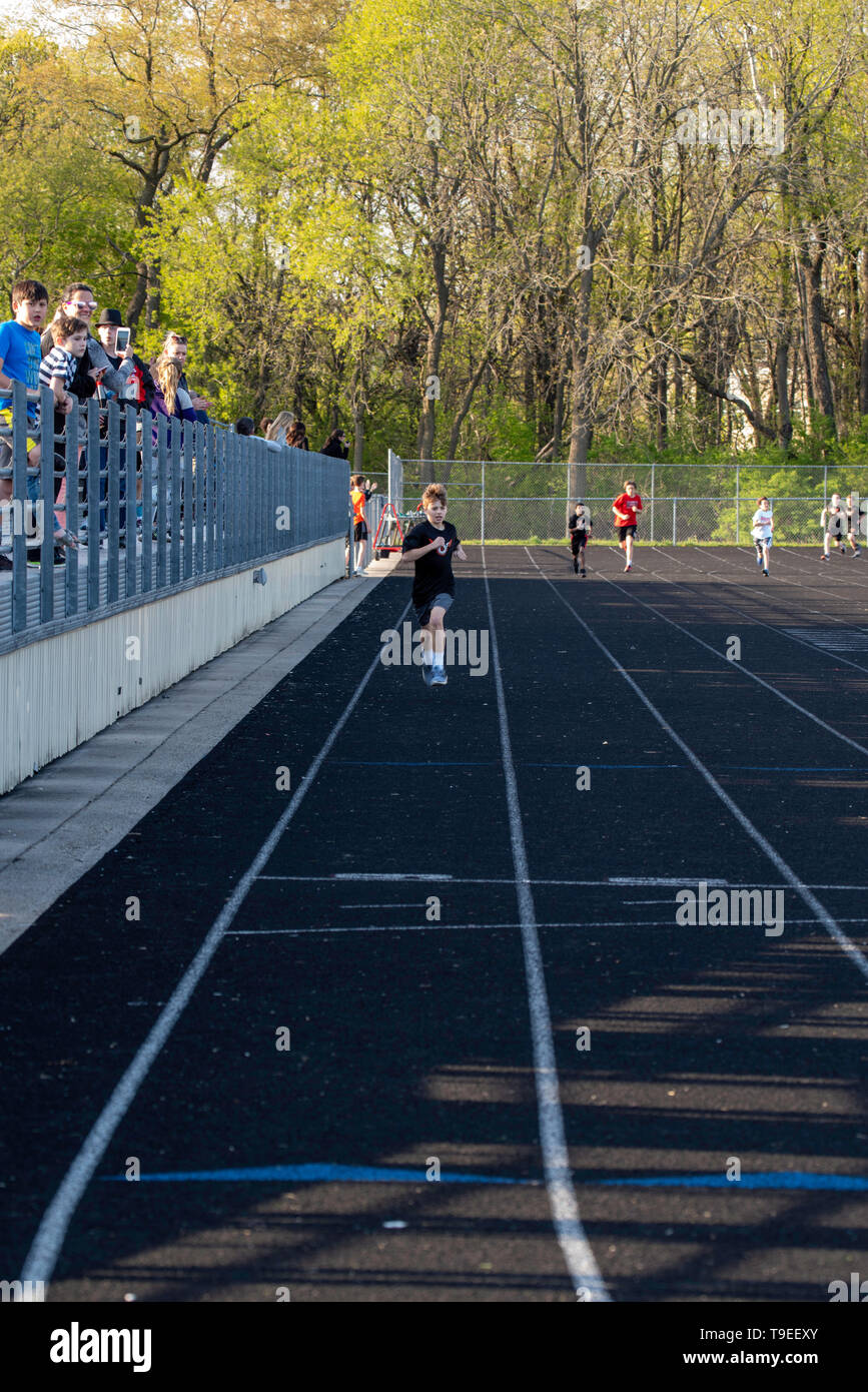 Images from a middle school track meet at Middleton, Wisconsin, USA. Stock Photo