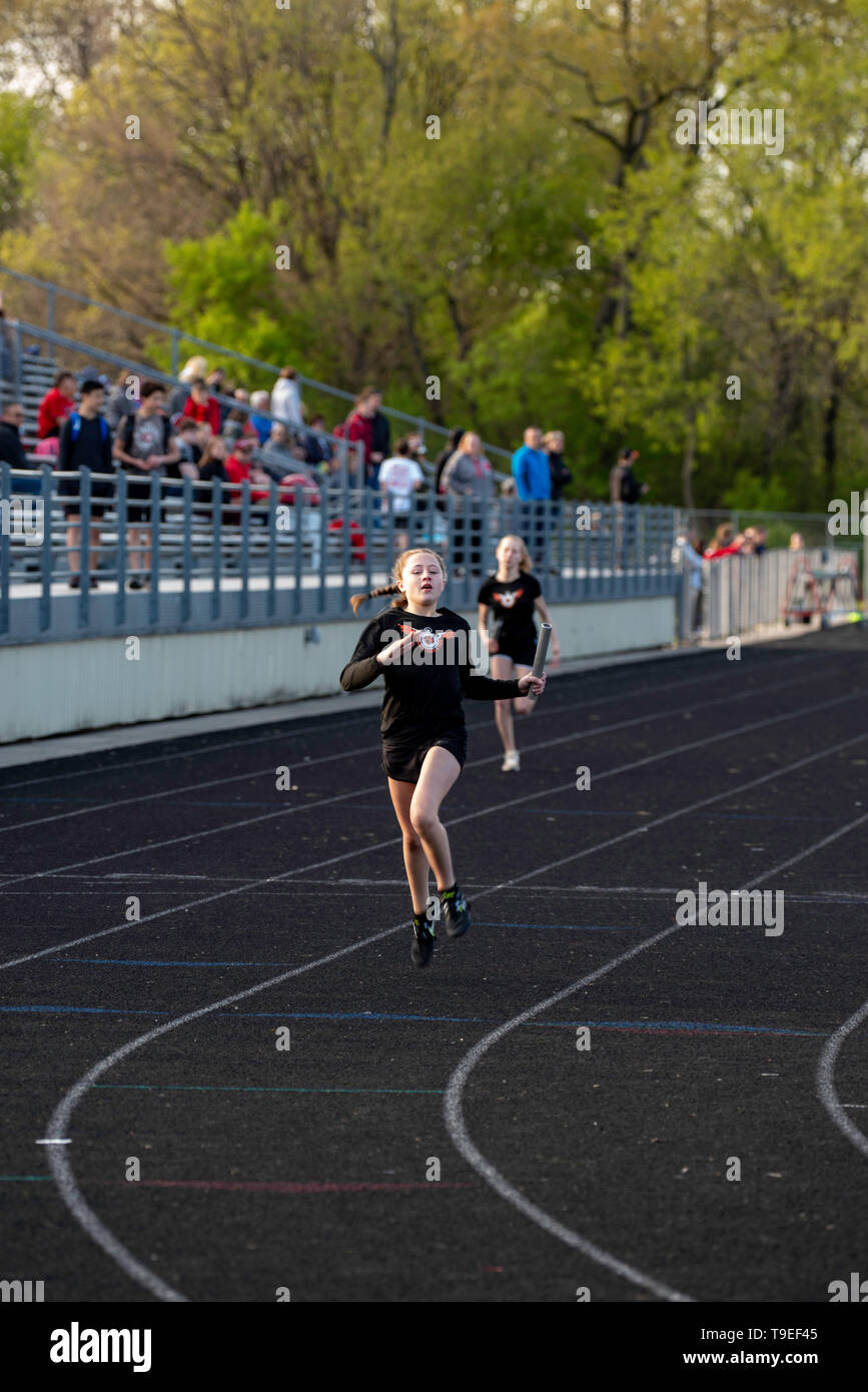 Images from a middle school track meet at Middleton, Wisconsin, USA. - Stock Image