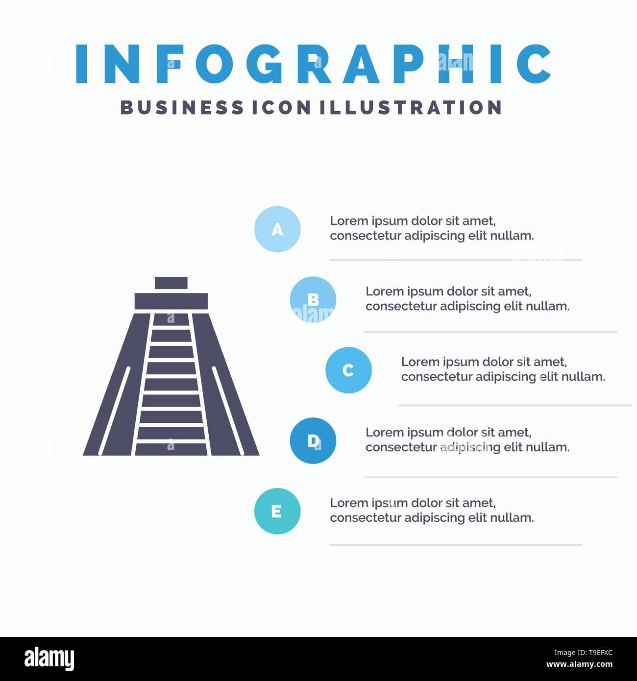 Chichen Itza, Landmark, Monument Infographics Presentation Template. 5 Steps Presentation - Stock Image