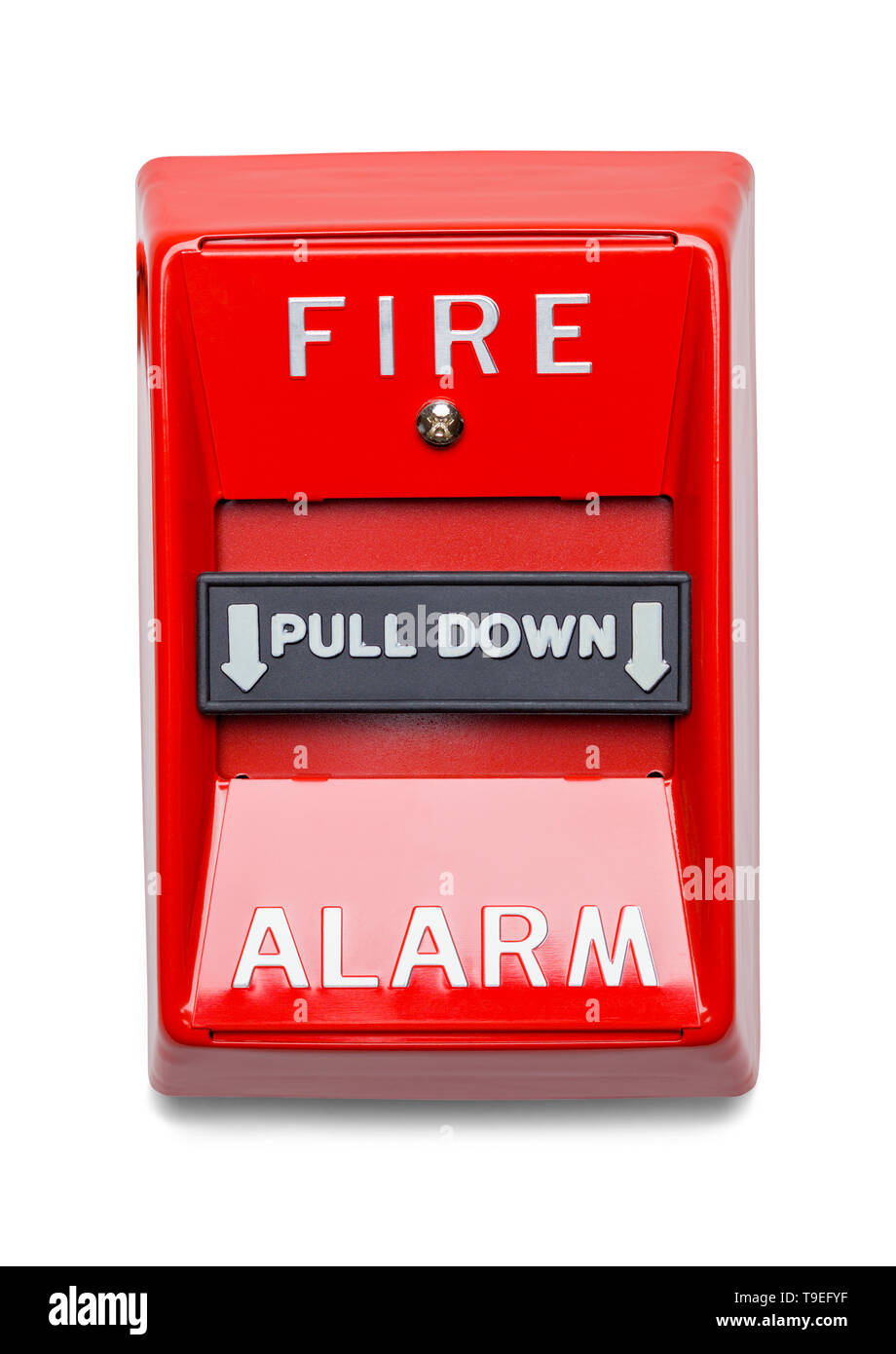 Red Metal Fire Alarm Isolated on White Background. Stock Photo