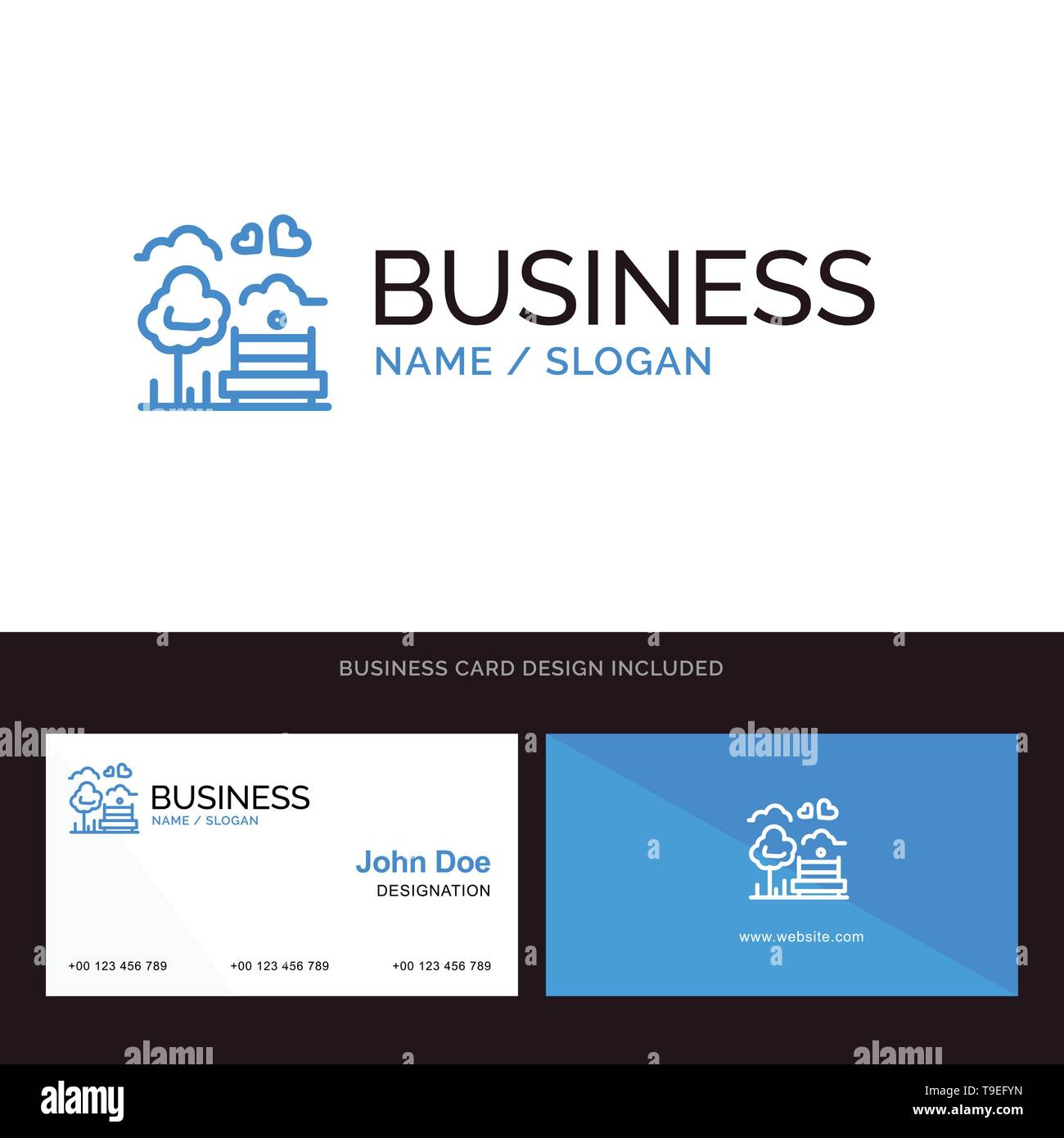 Park, Tree, Bench, Love, Outdoor Blue Business logo and Business Card Template. Front and Back Design - Stock Image