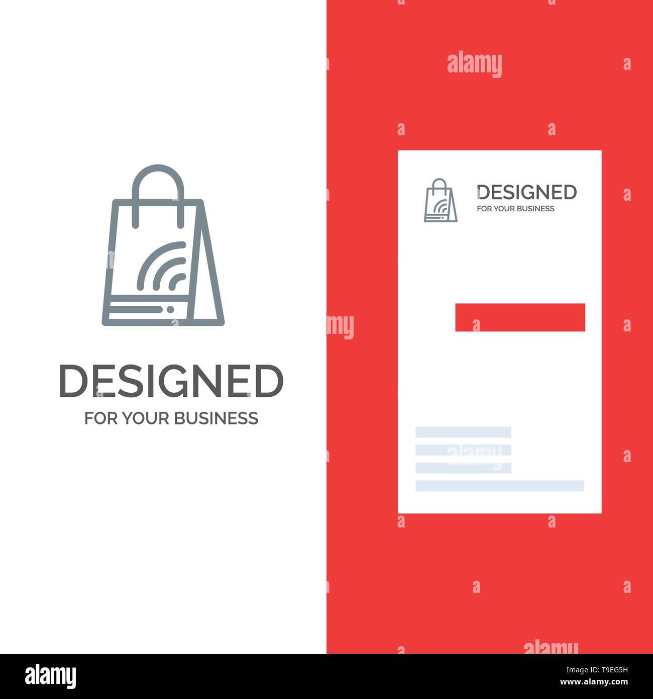 Bag, Handbag, Wifi, Shopping Grey Logo Design and Business Card Template - Stock Image