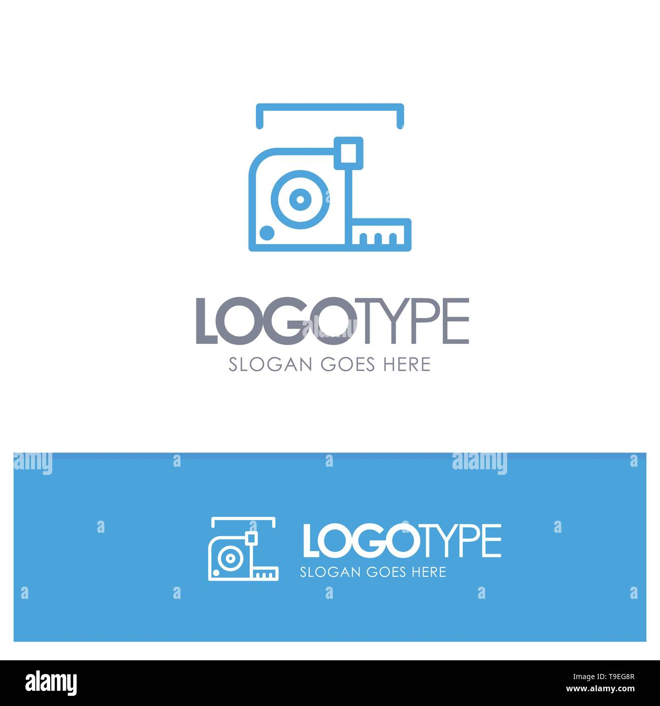 Measure, Measurement, Meter, Roulette, Ruler Blue outLine Logo with place for tagline - Stock Image