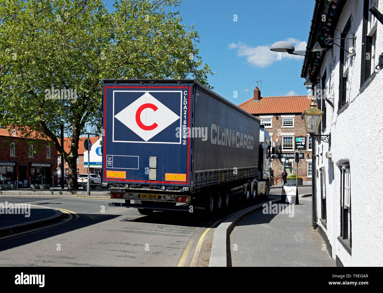Lorry on the narrow street of Crowle, North Lincolnshire, England UK - Stock Image