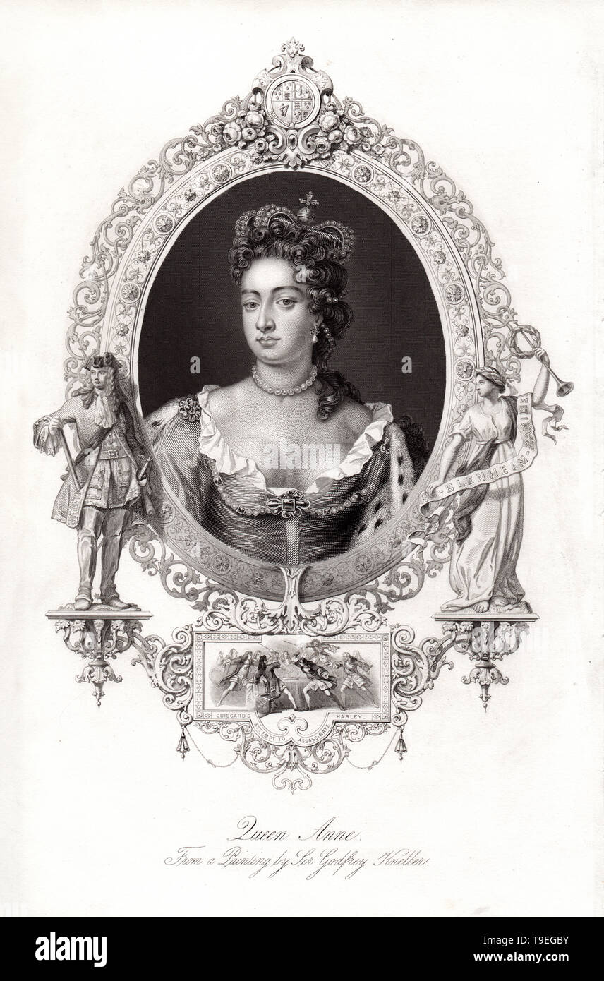 Portrait of Queen Anne, Monarch of Great Britain from 1702-1707, Engraving from a painting by Sir Godfrey Kneller, digitally enhanced version - Stock Image