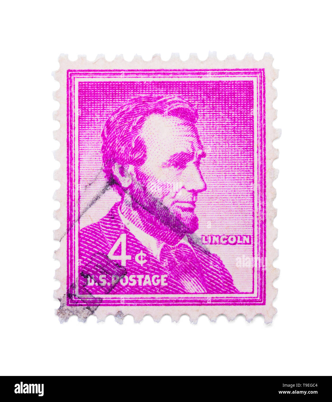 Abraham Lincoln Stamp Isolated on White Background. Stock Photo