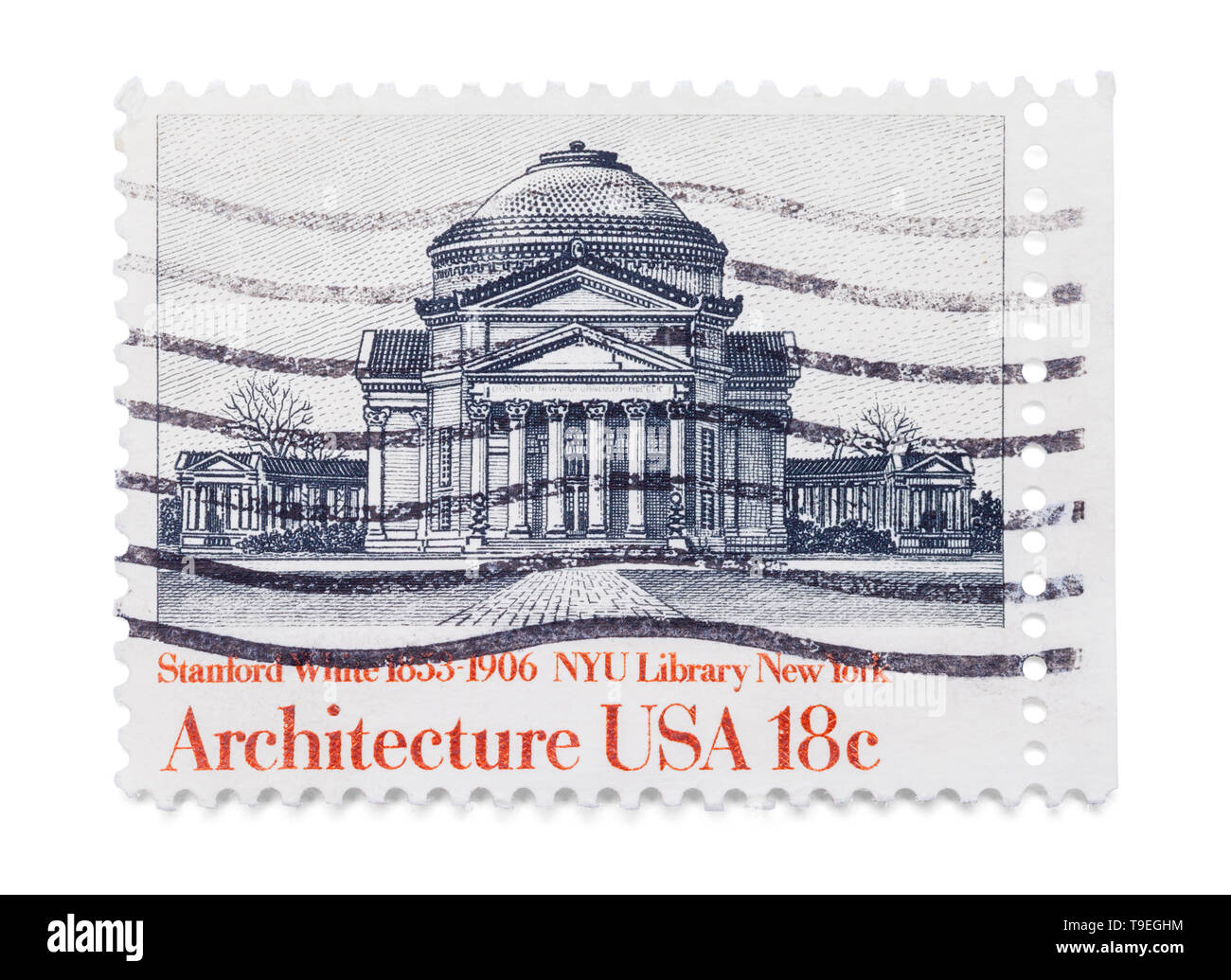 Old New York Library Stamp Isolated on White Background. - Stock Image