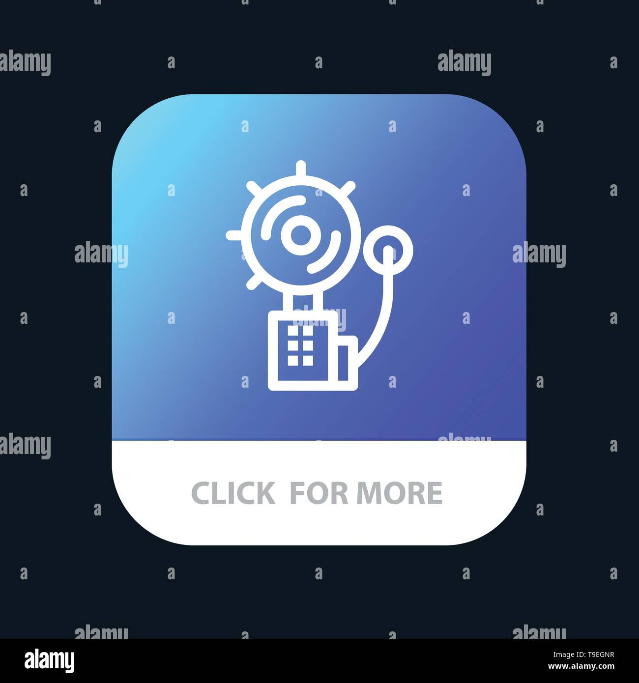 Alarm, Alert, Bell, Fire, Intruder Mobile App Button. Android and IOS Line Version - Stock Image