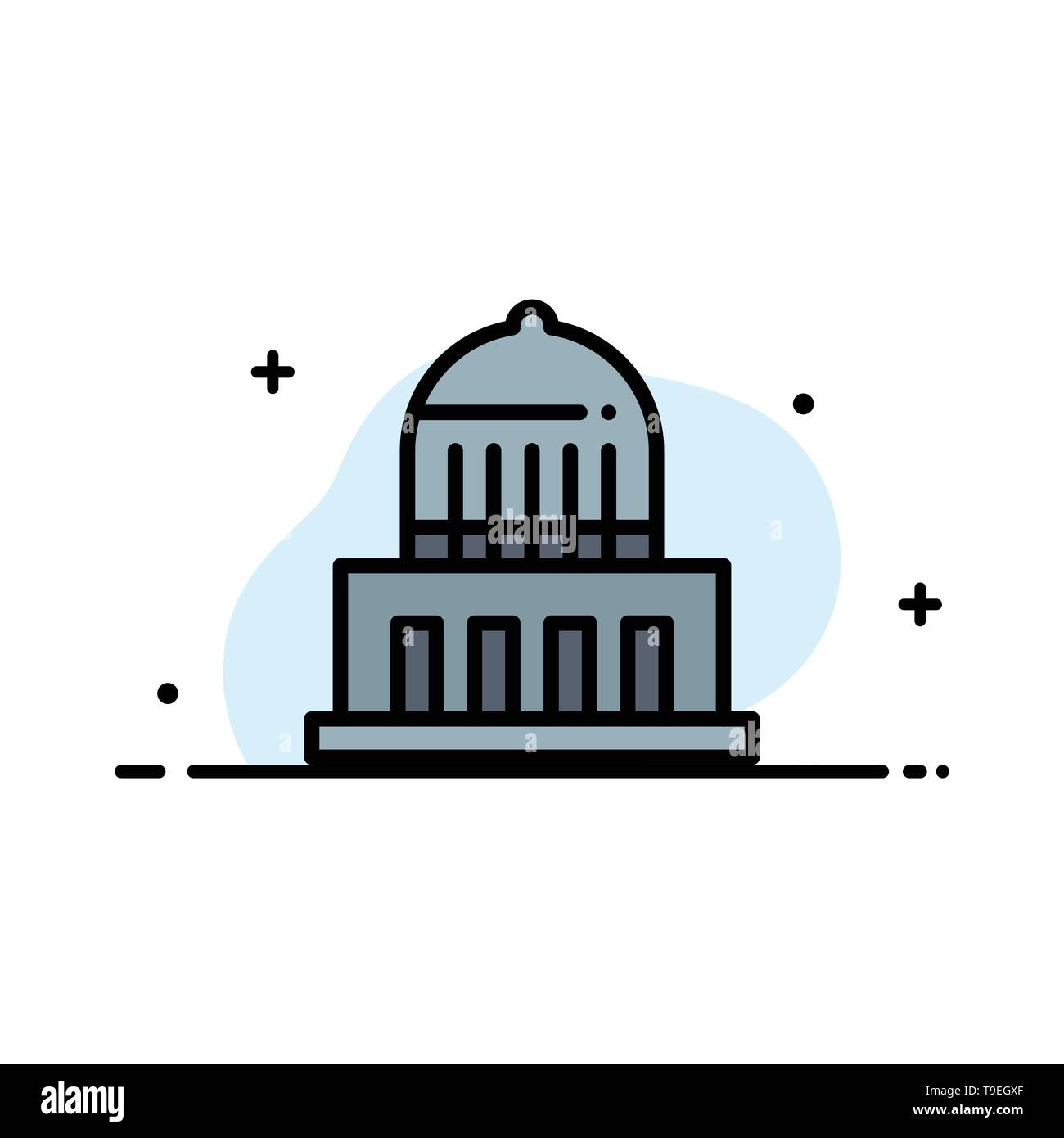 Building, City, Landmark, Usa  Business Flat Line Filled Icon Vector Banner Template - Stock Image