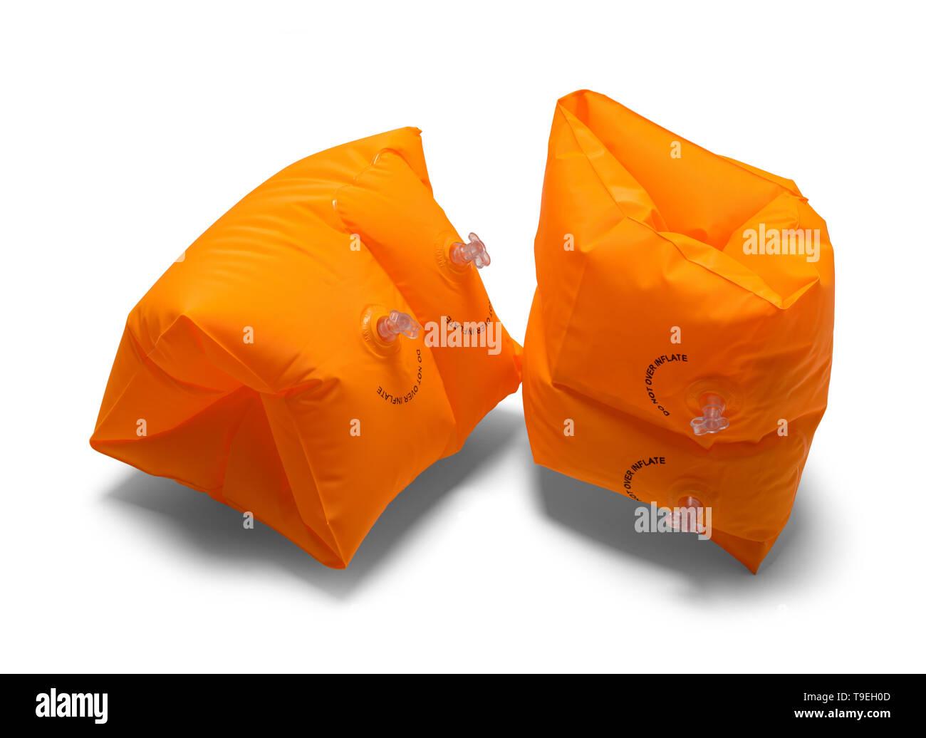 Two Orange Arm Swim Floats Isolated on White Background. Stock Photo
