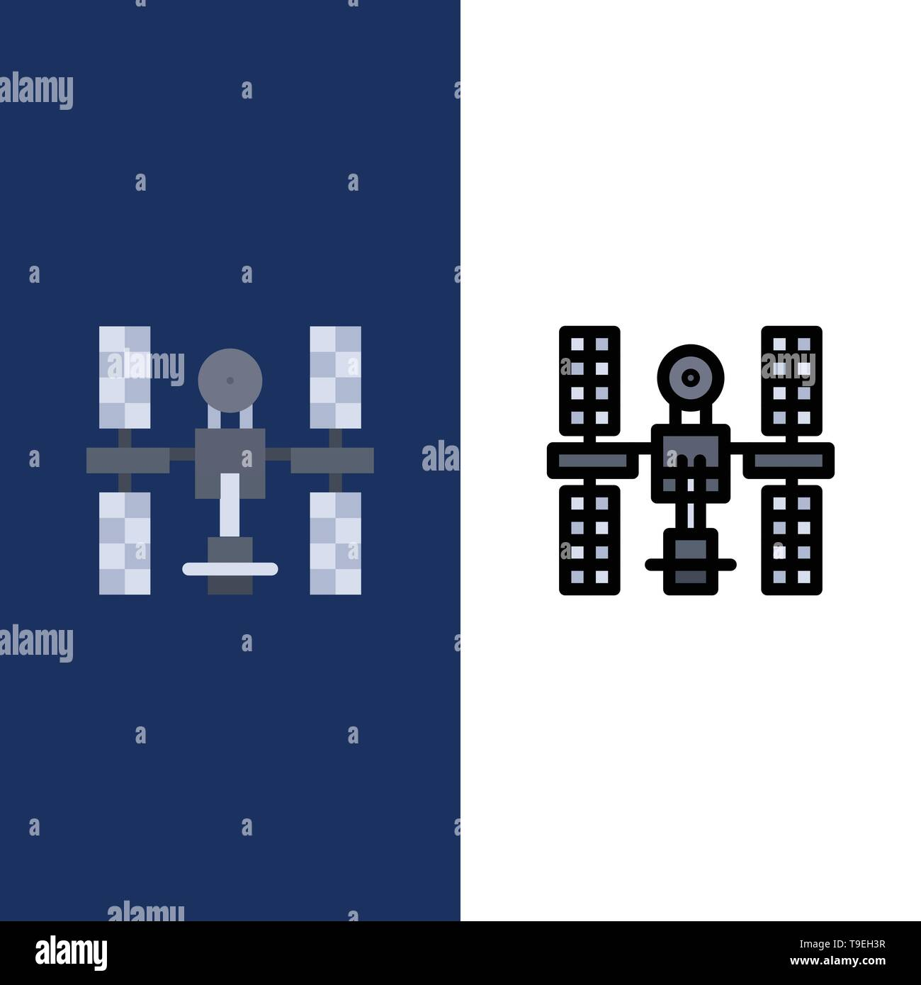 Complex, Orbital, Platform, Satellite, Space  Icons. Flat and Line Filled Icon Set Vector Blue Background - Stock Image