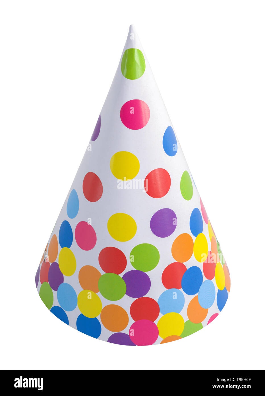 Polka Dot Party Hat Cut Out On White. Stock Photo