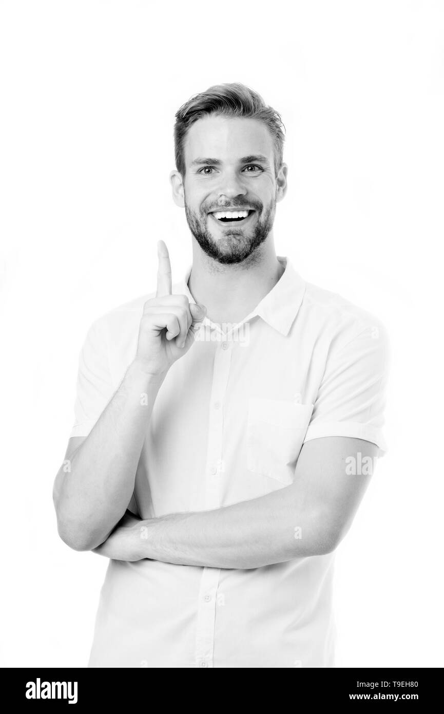 I know it. Man bristle happy smiling face, white background. Guy bearded cheerful having idea pointing finger gesture. Brainstorming concept. Man with - Stock Image