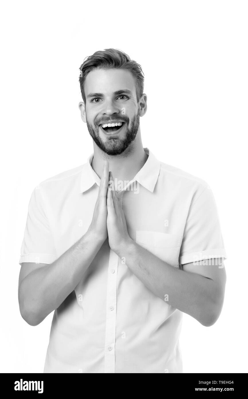 Grateful for everything. Man bristle happy smiling face, white background. Guy bearded cheerful praying gesture. Thanks God concept. Man with beard or - Stock Image