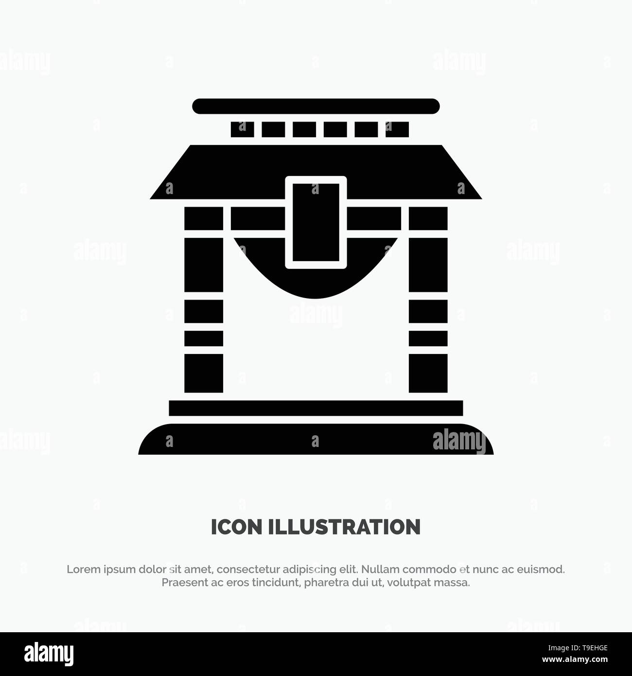 Door, Bridge, China, Chinese Solid Black Glyph Icon - Stock Image