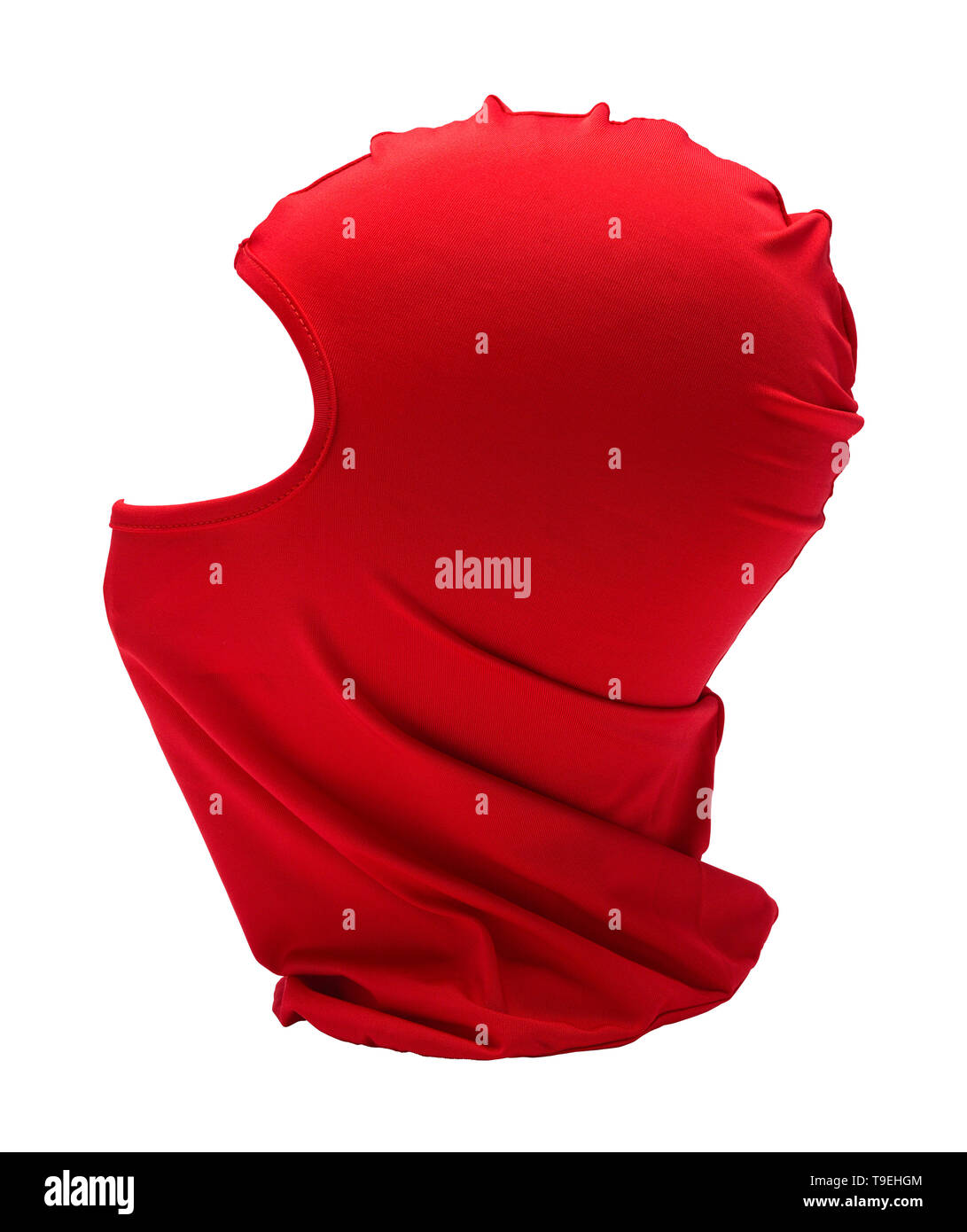 Red Ninja Mask Side View  Isolated on White Background. Stock Photo
