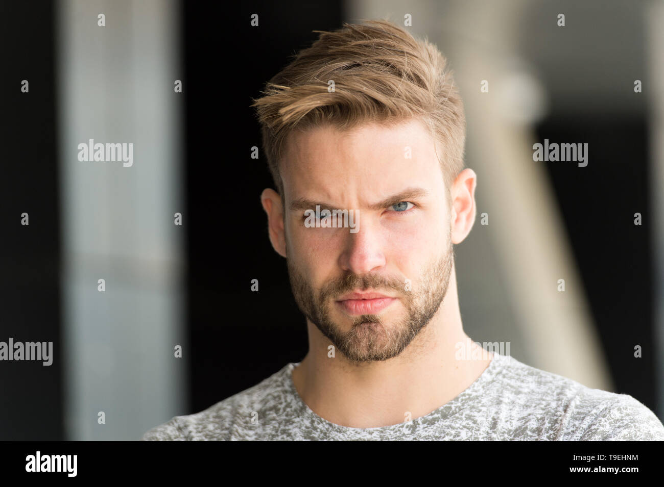 Metrosexual concept. Man beard unshaven guy looks handsome and cool. Handsome in style. Guy bearded attractive cares about appearance. Man bristle ser - Stock Image