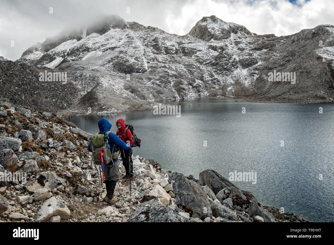 High lake near Sintia La pass, Lunana Gewog, Gasa District, Snowman Trek, Bhutan Stock Photo