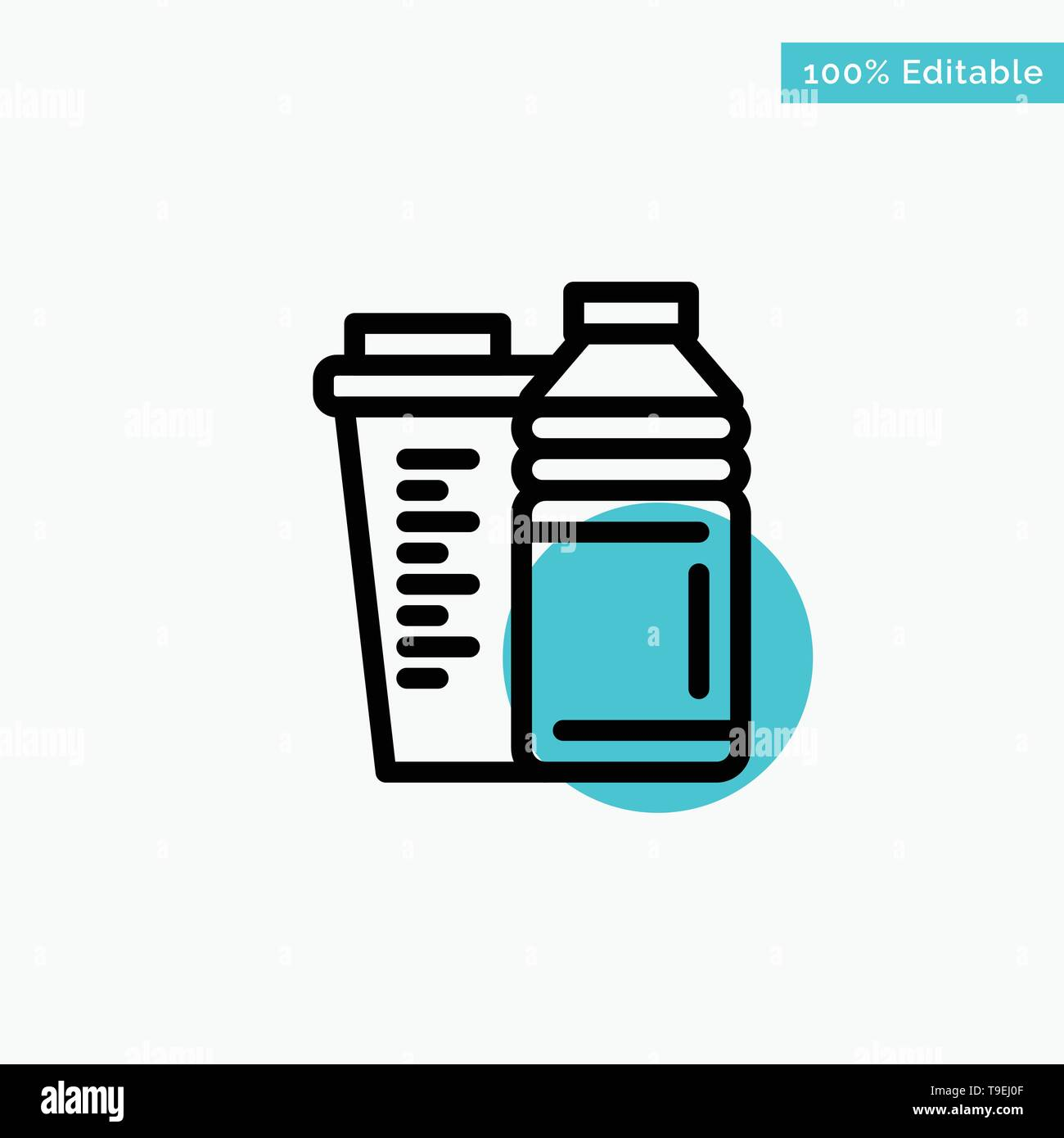 Bottle, Drink, Energy, Shaker, Sport turquoise highlight circle point Vector icon - Stock Image