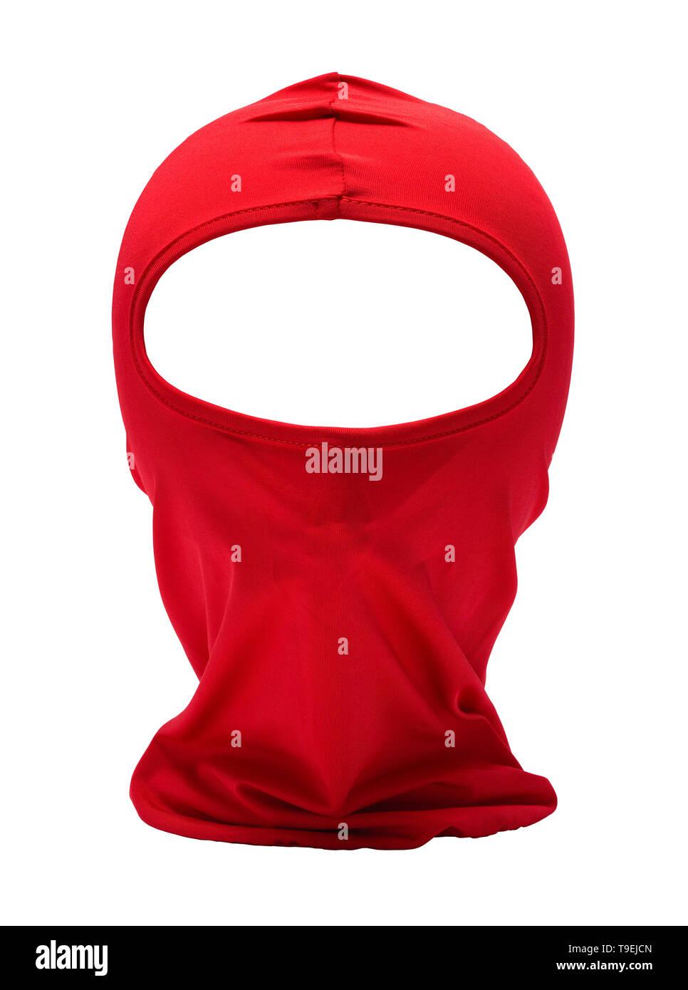 Red Ninja Mask Isolated on White Background. Stock Photo