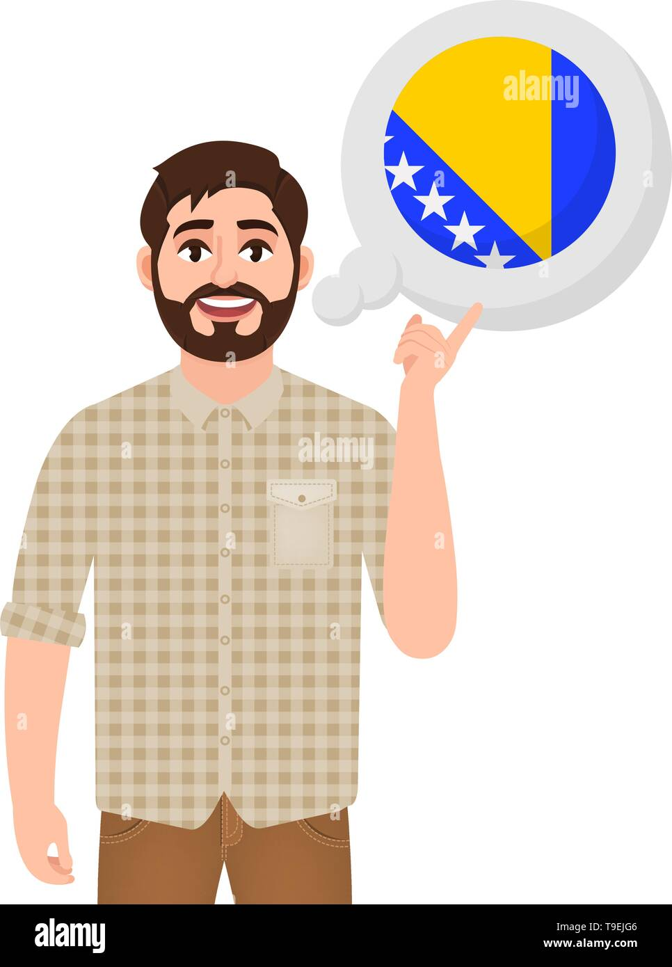 Happy bearded man says or thinks about the country Bosnia and Herzegovina, European country icon, traveler or tourist vector illustration - Stock Image