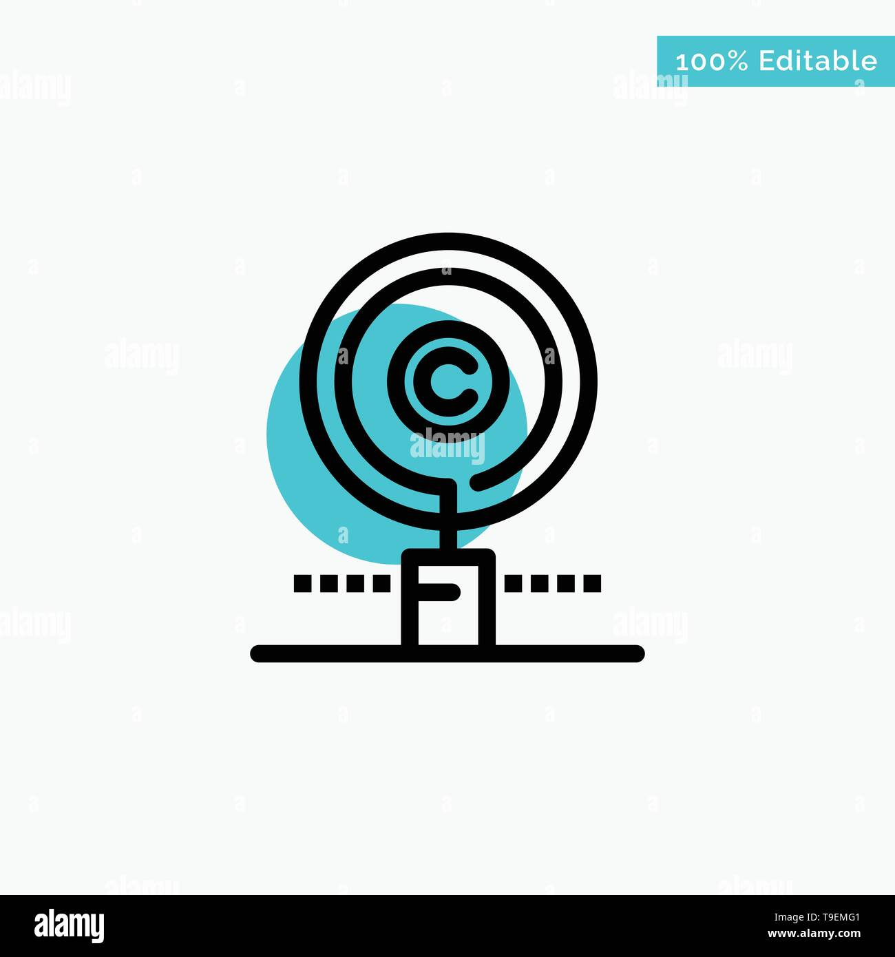 Content, Copyright, Find, Owner, Property turquoise highlight circle point Vector icon - Stock Image