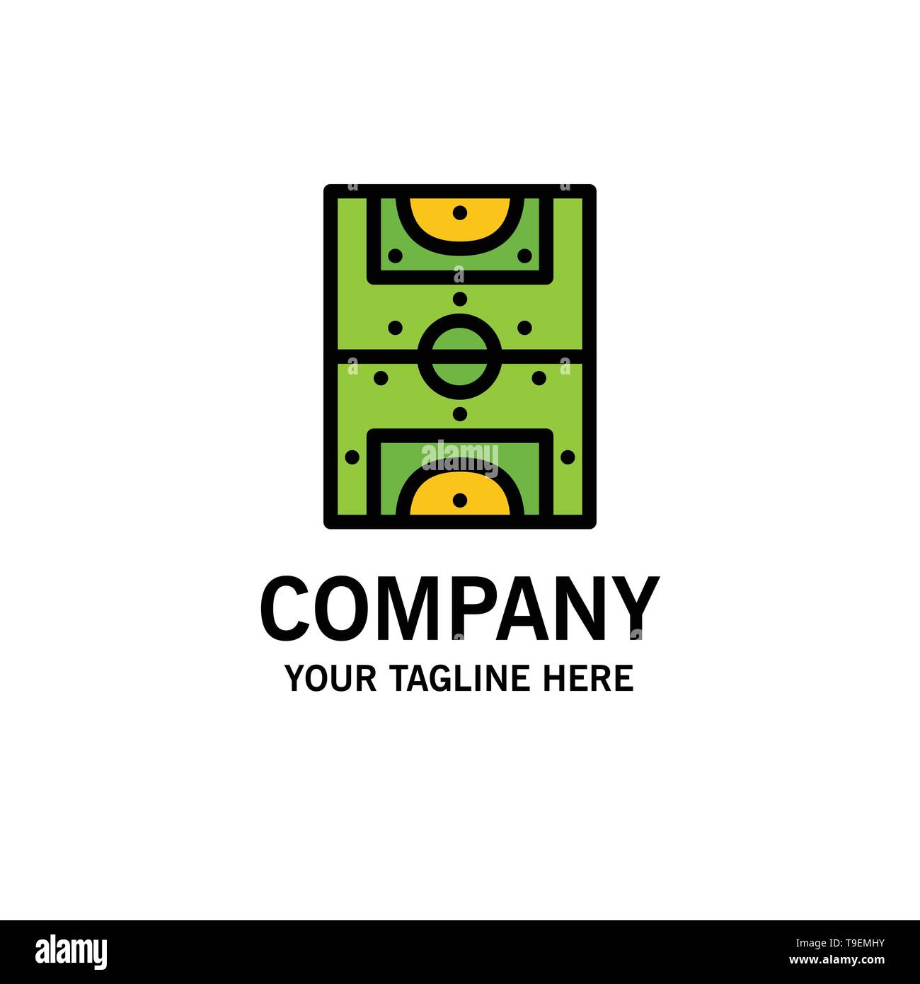 Entertainment, Game, Football, Field Business Logo Template. Flat Color - Stock Image