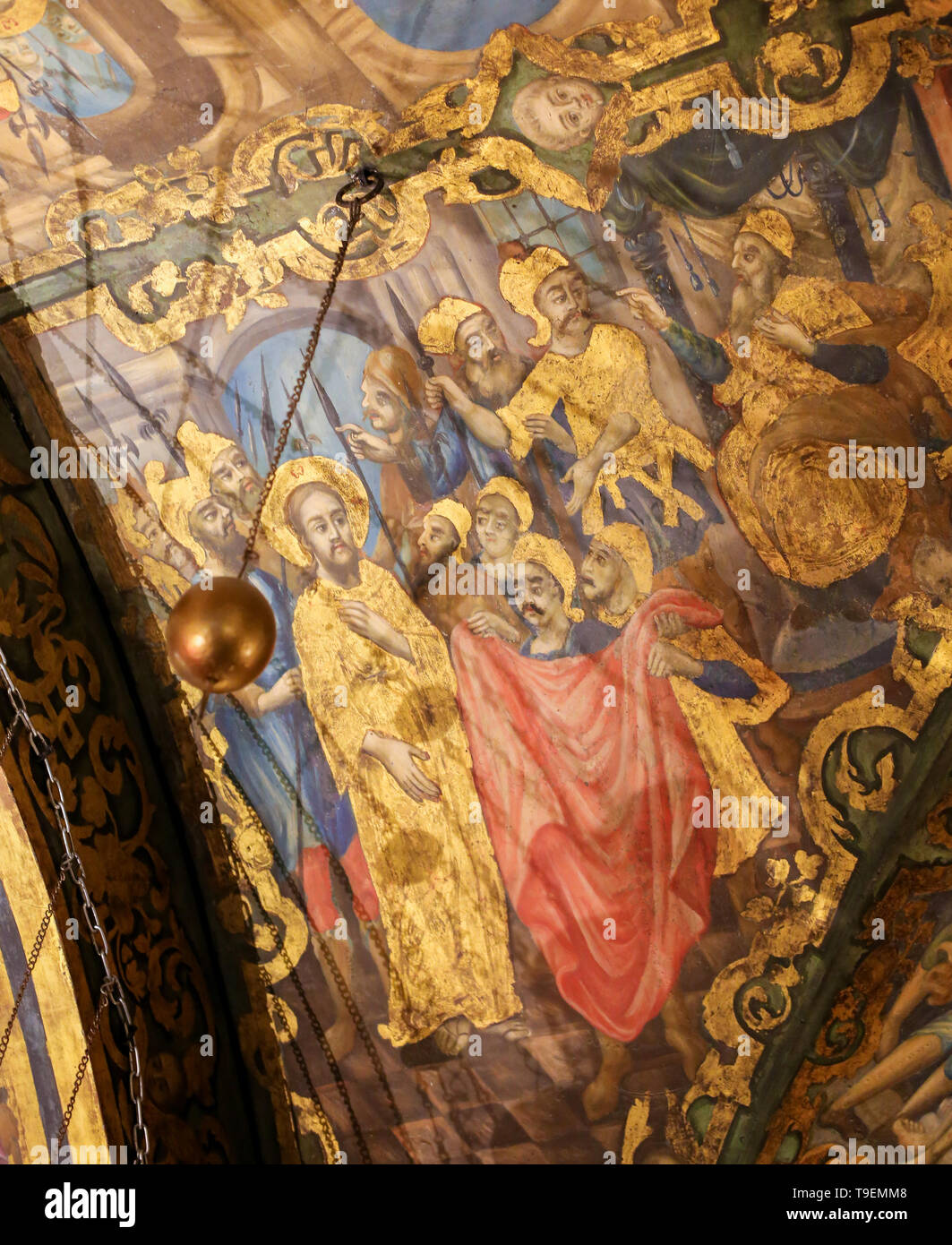 Greek Orthodox Fresco in the Church of the Holy Sepulchre in Jerusalem, depicting the Sanhedrin Trial of Jesus on Good Friday - Stock Image