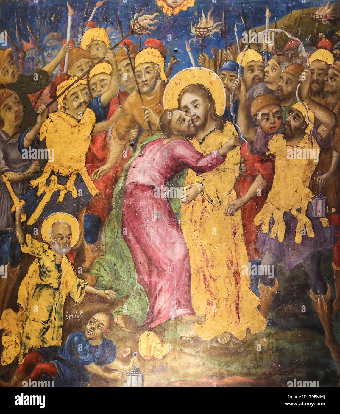Greek Orthodox Fresco in the Church of the Holy Sepulchre in Jerusalem, depicting Judas Iscariot betraying Jesus with a kiss Stock Photo