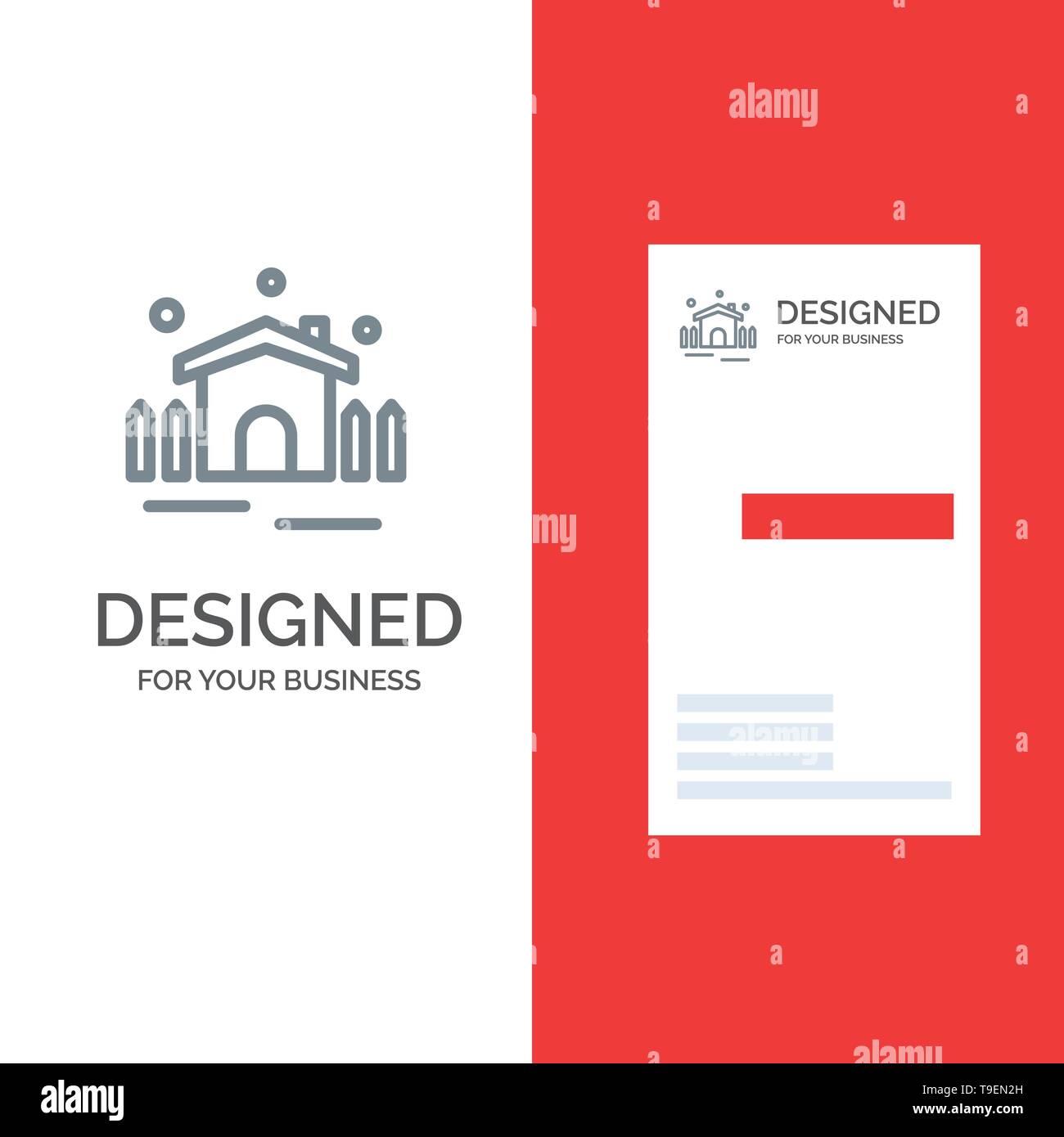 Construction, Garden, Patio, Shelter Grey Logo Design and Business Card Template - Stock Image