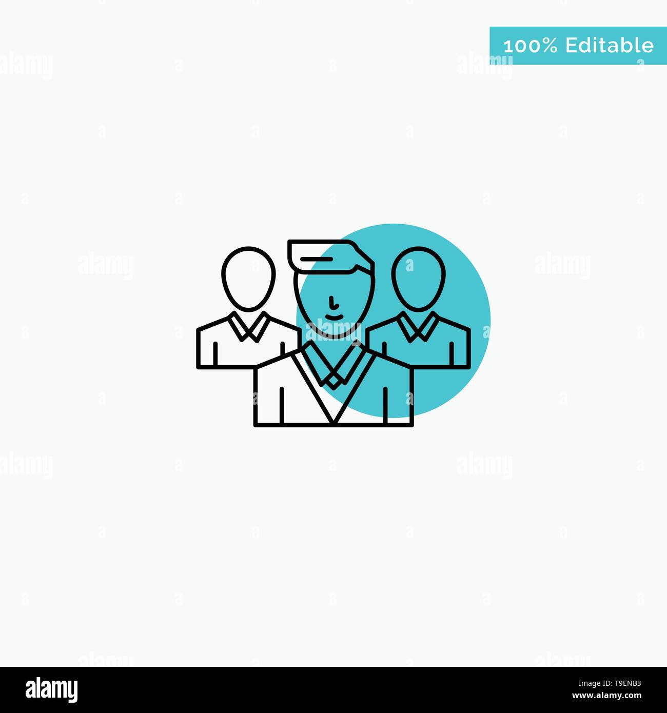 Staff, Security, Friend zone, Gang turquoise highlight circle point Vector icon - Stock Image