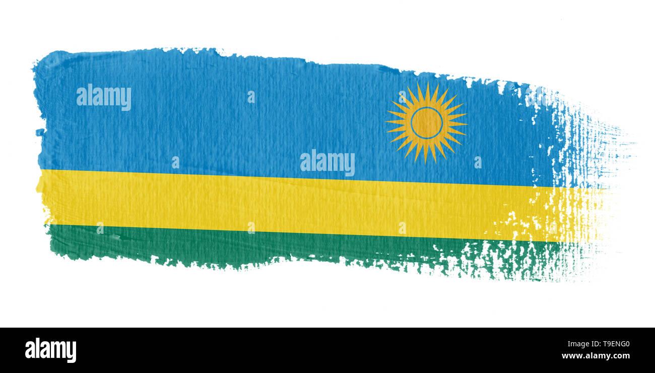 Brushstroke Flag Rwanda - Stock Image