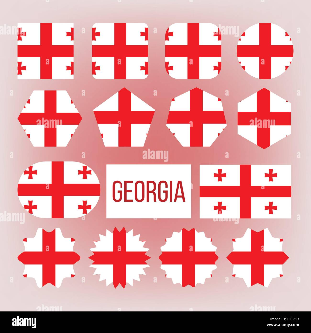 Georgia Flag Collection Figure Icons Set Vector National