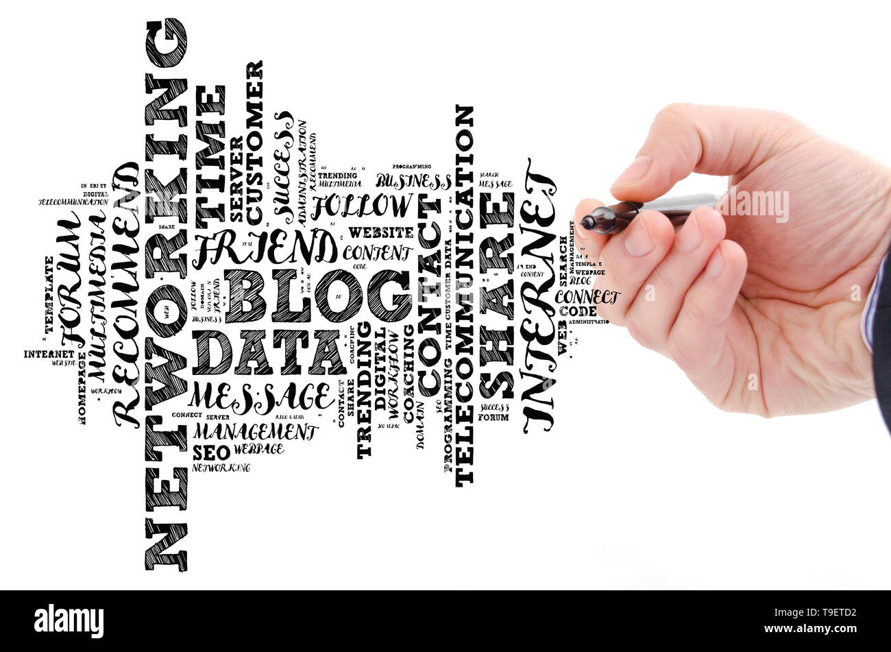 Blog word cloud collage over white background Stock Photo