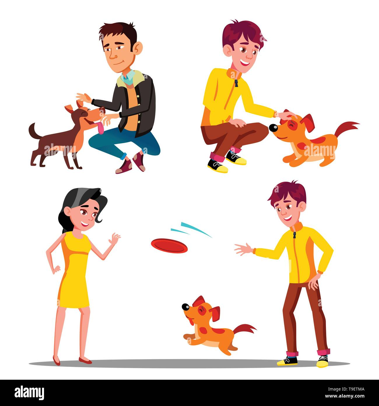 Characters Walking With Domestic Animal Set Vector. Man And Woman Walking, Petting And Playing Frisbee With Happy Running And Jumping Pet Dog. Outdoor - Stock Image
