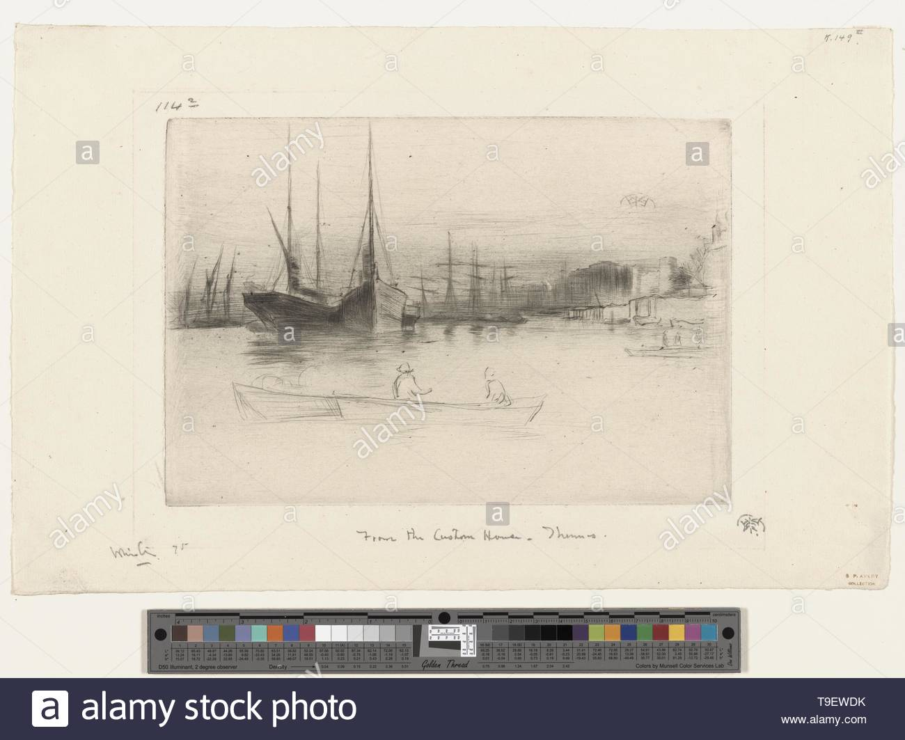 Whistler,JamesMcNeill(1834-1903)-Steamboats off the tower [2] - Stock Image