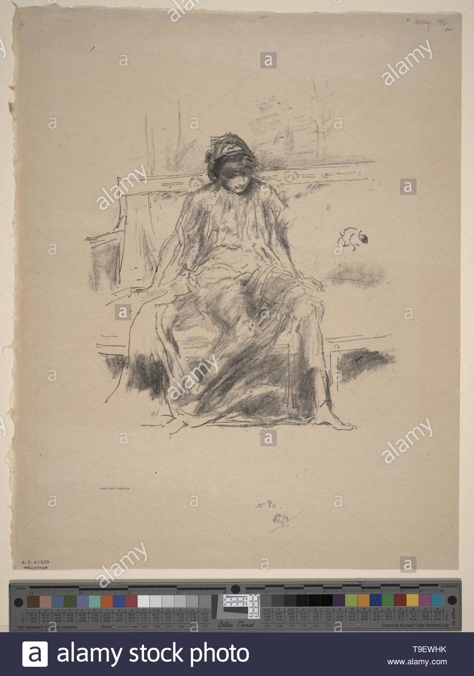 Whistler,JamesMcNeill(1834-1903)-The draped figure, seated - Stock Image