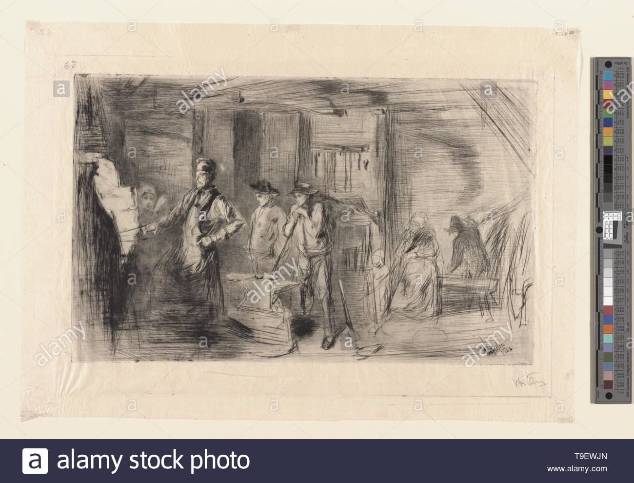 Whistler,JamesMcNeill(1834-1903)-The forge - Stock Image