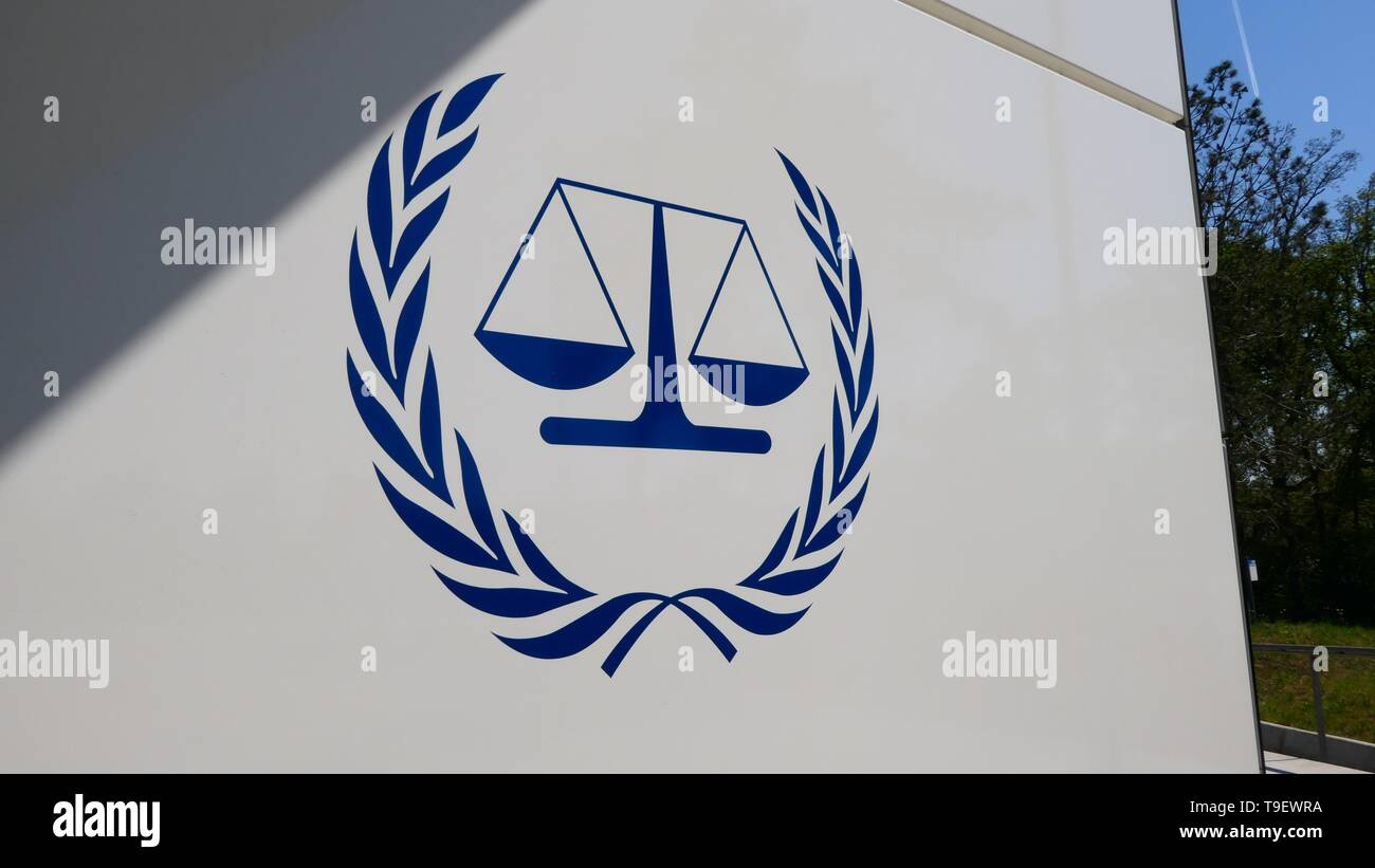 THE HAGUE, THE NETHERLANDS - APRIL 21, 2019: The Logo of the International Criminal Court Stock Photo