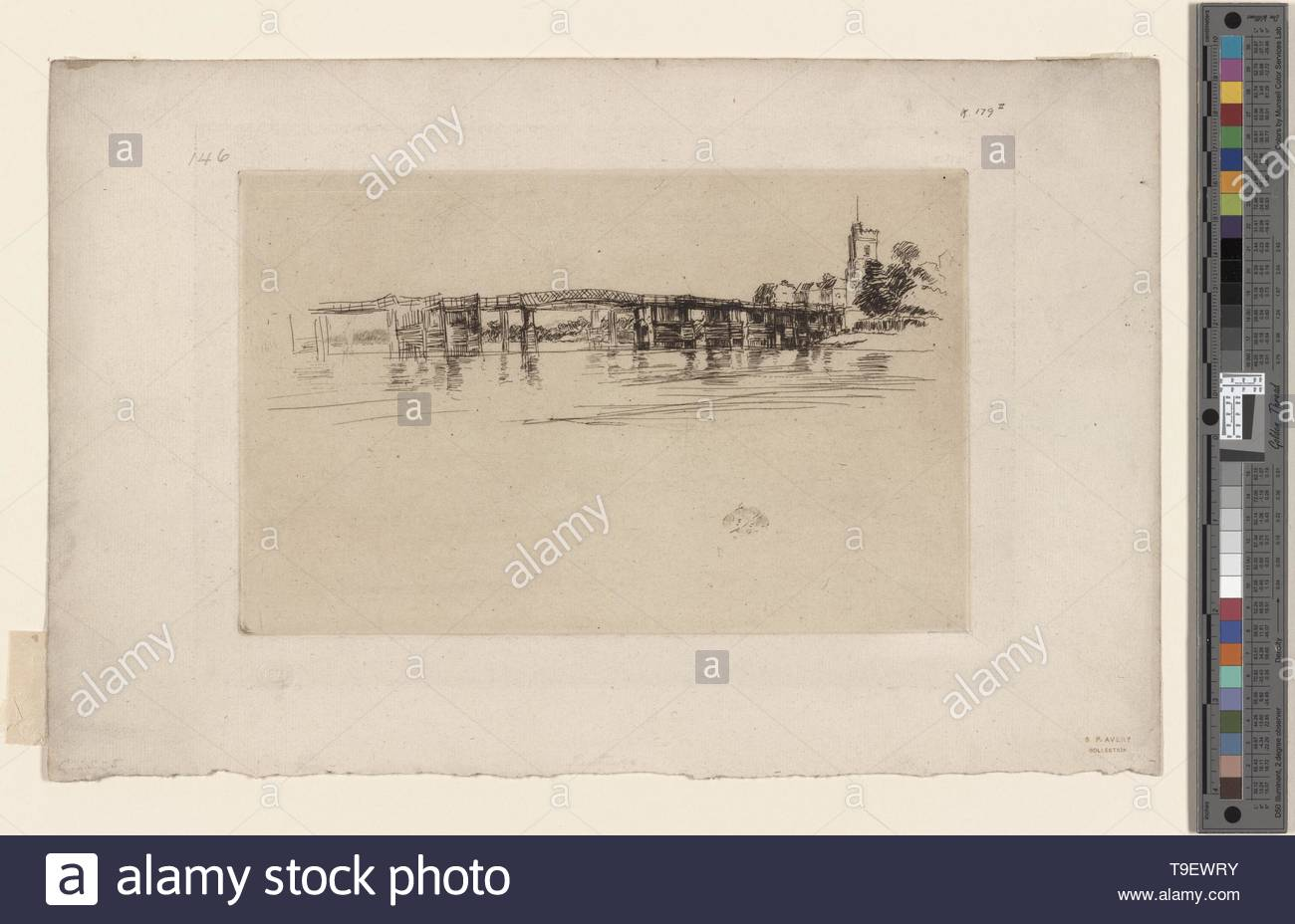 Whistler,JamesMcNeill(1834-1903)-The Little Putney, no  1 - Stock Image